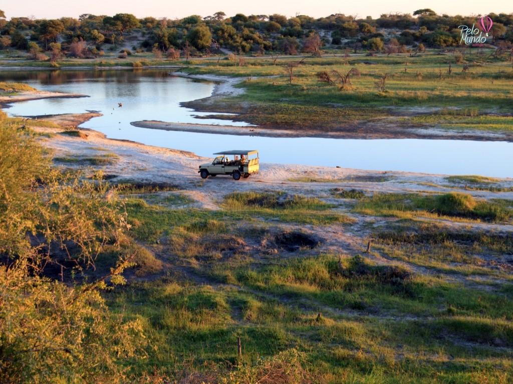 Vista do Kruger Parque e os carros de safari