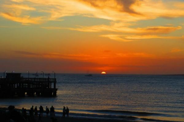Pôr do sol na praia de Punta del Este