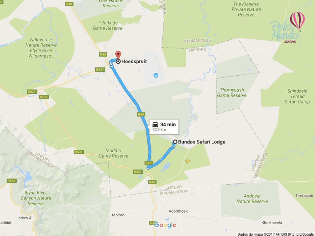 mapa de Bundox Safari Lodge para hoedspruit
